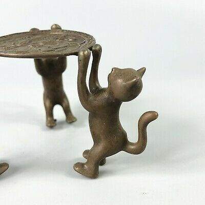 Exquisite Collectible Old Copper Handwork 3 Cats Chinese Candlestick Statue RN 4