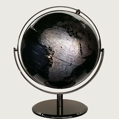 STUNNING HIGH QUALITY Double Axle World Globe Black Chrome Home Decor Gift 30cm 2