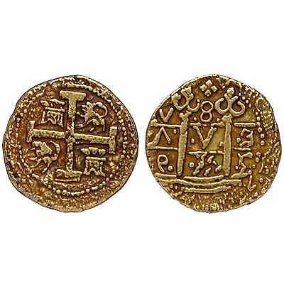 "Gold Coloured Doublon Coin Pirates Treasure Spanish Armada Coin ""One Coin G70 2"