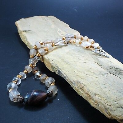 Original Ancient Roman Crystal Bead 22k Solid Gold Ancient agate Bead 1800yrs 5