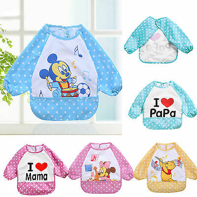 Baby Toddler Kids Cartoon Feeding Bibs Long Sleeve Plastic Feeding Smock Apron 4