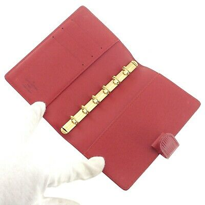 Auth LOUIS VUITTON Epi Agenda PM Day Planner Cover Red Leather R2005E #f41439 8