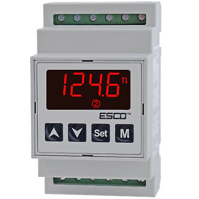 DIN Dual Temperature Controller two channel DOUBLE THERMOSTAT 2 SENSORS outputs 8
