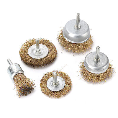 New 5 pack Brass Wire Brush Wheel Cup Drill Attachments Edges Rust Removal. 6
