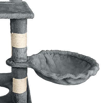 Arbre à chat griffoir grattoir geant avec hamac lit 141 cm hauteur gris blanc 4