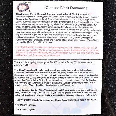 "CHARGED 6"" Natural Black Tourmaline Crystal Stretchy Bracelet + Selenite Heart 10"