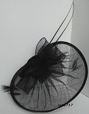 Black Hat Sinamay Feather Quill Fascinator Wedding Ascot Race Hen Party New 10