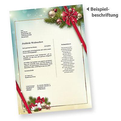 Briefpapier Weihnachten Motiv Rote Schleife Weihnachtsbriefpapier