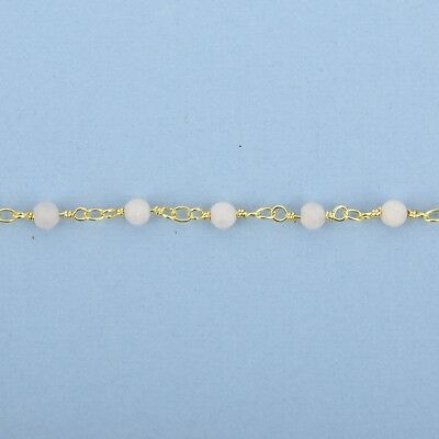 13 feet MATTE WHITE AGATE Rosary Chain 4mm round gemstone, frosted fch1007b 3