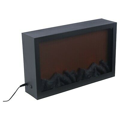 Wall Mountable LED Electric Plug In Flameless Log Fire Effect Fireplace Lantern 3