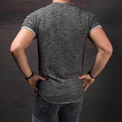Homme Coupe Slim O Manches Courtes Col Muscle Haut T-Shirt Déchiré Décontracté 6