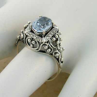Antique Victorian Design Sim Aquamarine .925 Sterling Silver Ring,          #386 3