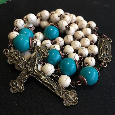 White Turquoise & bule Turquoise beads Vintage Catholic Rosary Cross Necklace 7