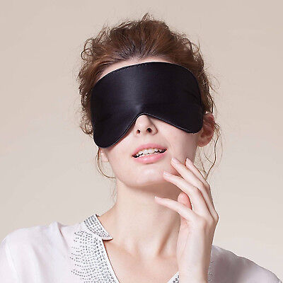 100% Pure Silk Sleeping Sleep Soft Eye Mask Blindfold Lights Out Travel Relax 2