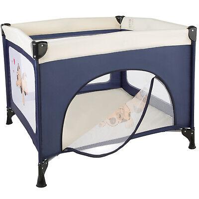 Parque para bebé cuna infantil de viaje portátil altura ajustable azul 3