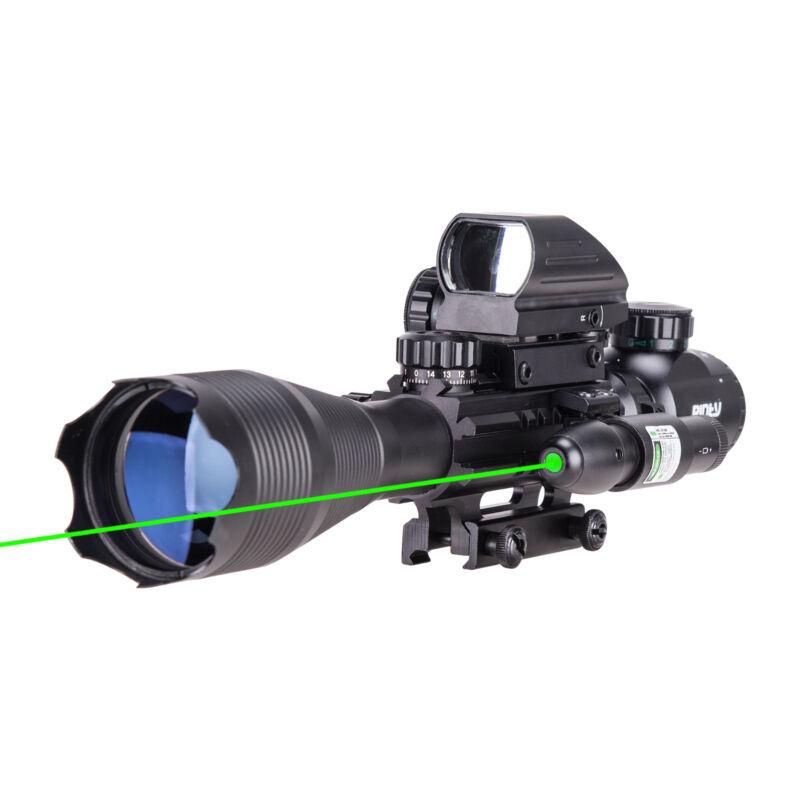 4-16x50 3in1 Combo Rangefinder Rifle Scope W/Green Laser &Reflex Dot Sight Scope 5