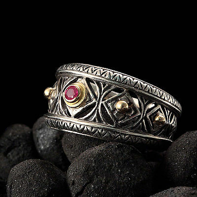 Gerochristo 925 Silver and 18K  Solid Gold Byzantine Handmade Ring with Ruby 4