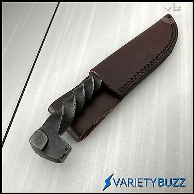 Hand Forged Railroad Spike Fixed Blade Hunting Knife Carbon Steel + Leather Case