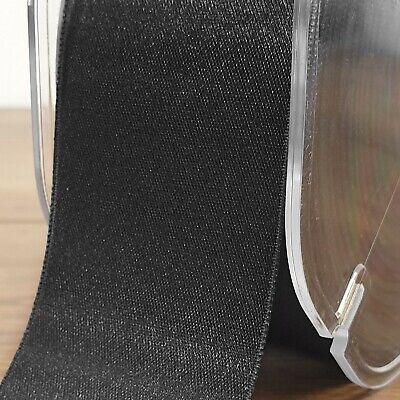 Beautiful Black Double Sided Satin Ribbon 3mm-50mm Wide Plain Solid Cut Per 1M 2