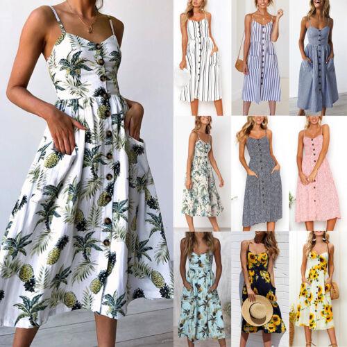 b2c4cee4fed38d Damen Urlaub Träger Taste Tasche Sommerkleid Boho Strand Midi Kleider  Swingkleid 2 2 von 12 ...