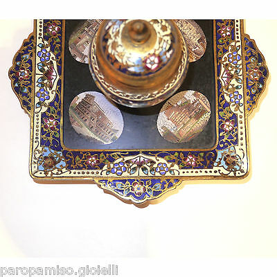 French Inkpot, 2nd half of 19th c., with Roman Micro Mosaics     (0529) 3