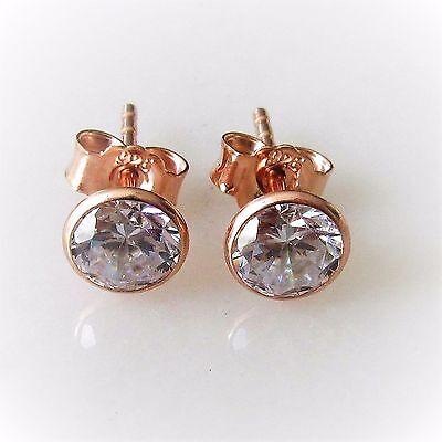 Damen Ohrstecker 925 Silber Rotgold Rosegold Vergoldet Zirkonia 5mm Ohrringe