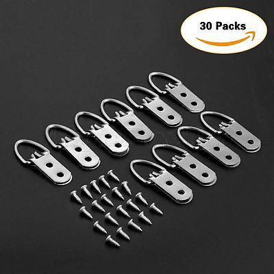 30Pcs 53mm*23mm Heavy Duty D-Ring Picture Hangers Frame Hanging 2 Hole+60 Screws 2