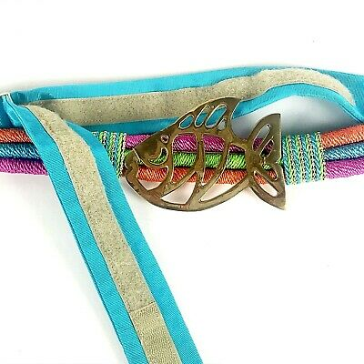 "Womans Designer Belt By Susan Maddox Atlanta Brass Fish Colorful Cord 28-36"" 5"