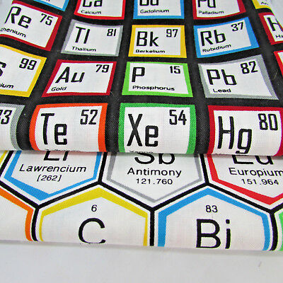 Science fair periodic table 100% cotton fabric by Robert Kaufman per FQT 3