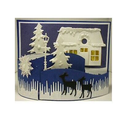 Christmas Metal Die Cut Lamp Post,Tree,Deer,Snowflake,Eline's Marianne Dies 2