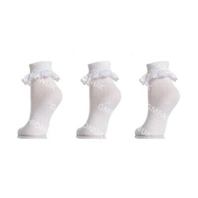3 Pairs Girls Cotton White Soft Lace Top Frilly Ankle Baby Socks School Ladies 3