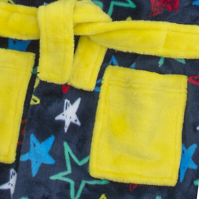 Boys Star Print Dressing Gown Robe Soft Plush Fleece Hooded Fluffy Colourful 2