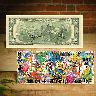Famous Iconic CEREAL Characters $2 US Bill Pop Art HAND-SIGNED by Rency / Banksy 3