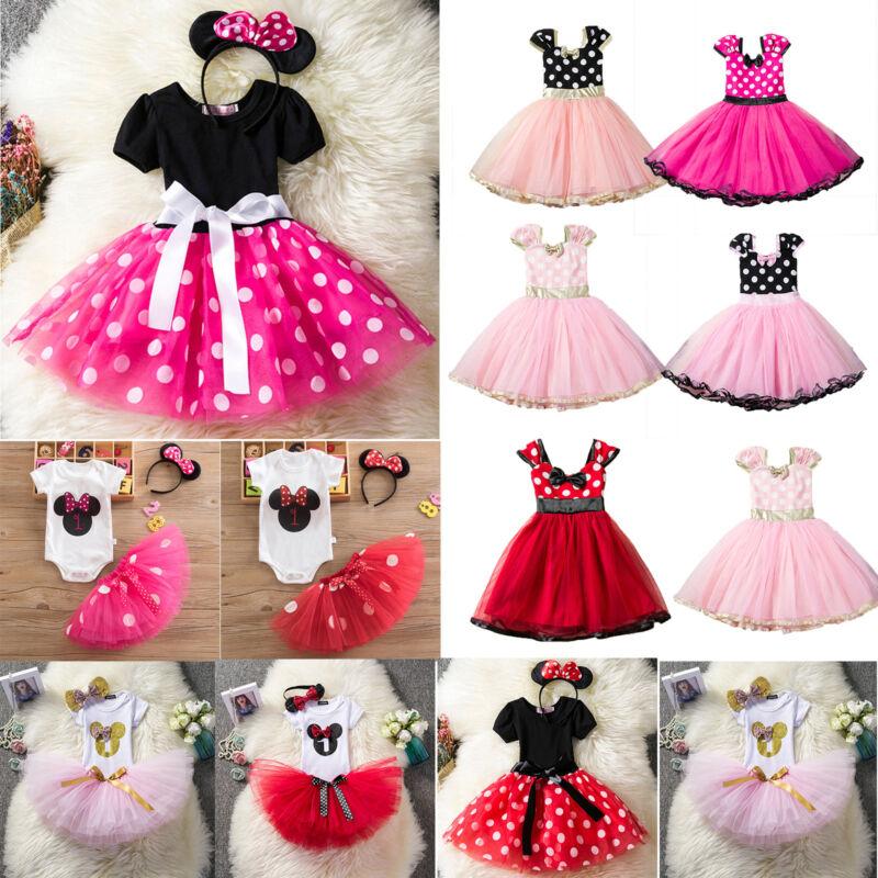 Baby Kinder Mädchen Minnie Maus Kostüm Romper Tutu Tüllkleid Rock Ohren Haarband