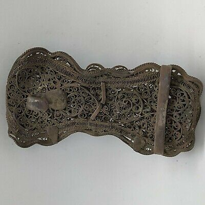 WOMAN BELT BUCKLE ANTIQUE COPPER SILVER PLATED FILIGREE EUROPE 19th CENTURY 11