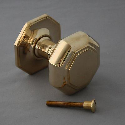 Large Georgian Style Brass Octagonal Door Pull 6