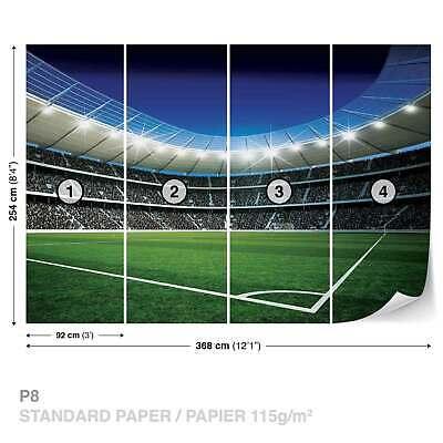 Football Stadium boys room paper wallpaper 368x254cm wall mural bedroom green