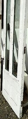 Old Vtg Antique House Entry Chippy Crackle White Paint 2 Glass Pane Door 5