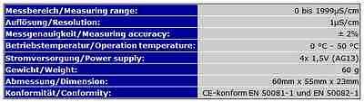 Ec-Meter / Leitwertmessgerät/osmose/wasserqualität Online Version  Ec4 5