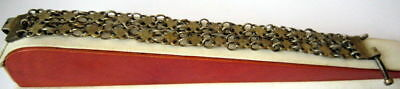 ANTIQUE 1800 s. SILVER KNITTED TWO ROWS LADY BRACELET WITH GOLD PLATED #  52C 3