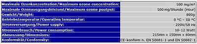 500mg OZONISATOR OZON-GENERATOR OZONGERÄT OZON DESINFEKTION WASSER AQUARIUM OZ5