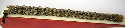 ANTIQUE 1800 s. SILVER KNITTED TWO ROWS LADY BRACELET WITH GOLD PLATED #  52C