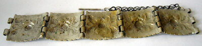 ANTIQUE 1800s.BRONZE BRACELET,SILVERED in 5 PARTS,AMAZING FLORAL DECORATION # 7 5