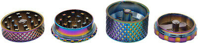 "1.6"" 44 mm 4 Piece Grinder Herb Spice Crusher Body Diamond Cut Design Rainbow 79 2"