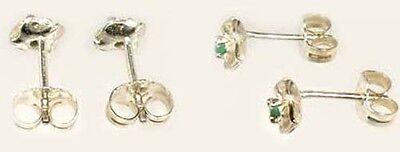 2 Antique 19thC Emerald Ancient Egypt Fertility Rebirth Eye Gem Sterling Studs 2