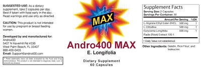 Andro400 Max - 1 Bottle (30 Day Supply) - Guaranteed Manufacture Direct 2