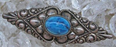 ☺☻antike Brosche mit Türkis in aus Silber Schmuck antik Brooch antique turquoise