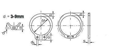 DIN 471 Sicherungsring A f/ür Wellen-/Ø 10 mm Material Federstahl phosphatiert