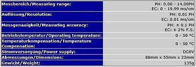 2-In1 Multimeter Messgerät Tester Prüfer (Ec+Ph) Leitwert Leitfähigkeit Tds P31 3
