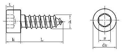 Hex Socket Screw Self Tapping Bolt M2 M2.6 M3 M3.5 M4 M5 M6 Cap Head Screws 4